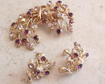 Coro Brooch Earring Set Screw Back Purple Rhinestones Vintage 101614GL
