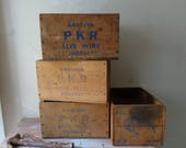 Rustic Vintage Collection of 4 PKR Live Wire Wooden Boxes