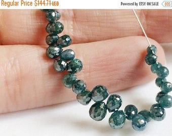 ON SALE 55% 2 Pcs Blue Diamond Faceted Briolette Beads, Natural Sparkling Rough Diamond Tear Drops, Raw Diamonds - DSA4