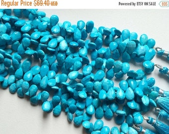 ON SALE 55% Turquoise Beads, Turquoise Faceted Pear Briolettes, Chinese Turquoise, 12x8mm Each, 48 Pieces Approx, 9 Inch Strand