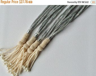 ON SALE 55% 2 Pieces Adjustable Indian Cords With Pearls & Tassels, Pearl Adjustable Strands, Silver Adjustable Strands, Wholesale Price