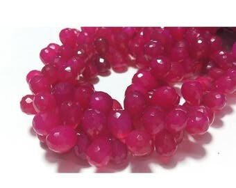 ON SALE 55% Pink Chalcedony, Briolette Beads, Tear Drop Beads, Faceted Gemstones, 36 Pieces, 9x12mm Each, Wholesale Price, 4 Inch Half Stran