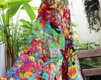 PATCHWORK Floral Printed Cotton Boho Gypsy Wide Leg Pants - OMP1708-06