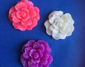 Kawaii big flower with rhinestones decoden deco diy charm cabochons  3 pcs---USA seller