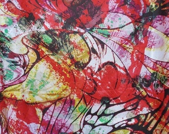 ON SALE SPECIAL--Red Yellow and Green Huge Splatter Print Pure Cotton Lawn Fabric--One Yard
