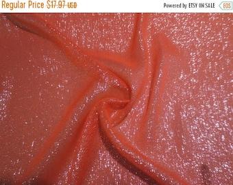 ON SALE Tangerine with Silver Metallic Silk Chiffon Fabric--One Yard