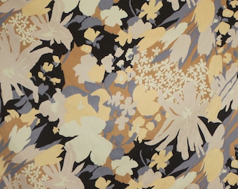Beige Black and Gray Abstract Floral Print Stretch Cotton Sateen Fabric--By the Yard