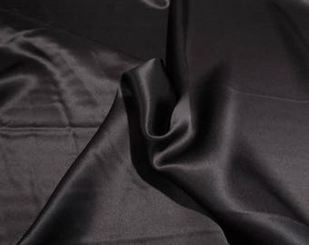 Jet Black 18mm Pure Silk Charmeuse Fabric--By the Yard
