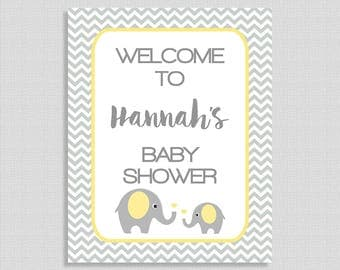 Elephant Baby Shower Welcome Sign, Personalized Baby Shower Welcome Sign, Yellow and Grey Chevron Elephant Shower, DIY PRINTABLE