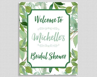Green Bridal Shower Welcome Sign, Greenery Wedding Shower Sign, Foliage, Leaves, DIY PRINTABLE
