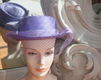 Vintage Purple Straw Upturned Brim Hat by Bellini, NOS, New Old Stock