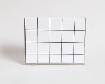 greeting card: geometric black and white card, lines, grids