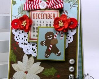Gingerbread Christmas Greetin Card Polly's Papaer Studio Handmade