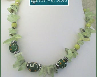 Green Prehnite Jade Necklace, Chunky Gemstone Jewelry, Tribal Prehnite Necklace, Colorful Statement Jewelry, Matching Bracelet Available