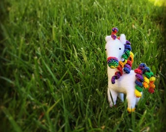 Crochet White Unicorn with Rainbow Hair