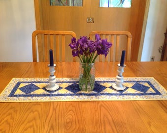 """Blue and Yellow Floral Quilted Table Runner Table Topper 11-1/2"""" x 39"""""""