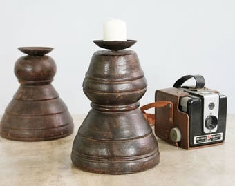 Candle Holder Reclaimed Antique Turned Wood Element India Moroccan Decor Mediterranean Boho Candle Stand