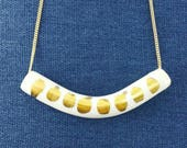 GEOMETRIC PORCELAIN & GOLD necklace /// ceramic jewelry, clay pendant, clay bead, clay necklace, porcelain jewelry, porcelain pendant