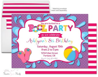 Girls Pool Party Invitation, Pool Party Birthday Invitation, Swimming Party Invitation, Birthday Invitation Girl, Pool Party Invite, Purple
