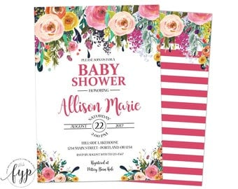 Baby Shower Invitation Girl - Girl Baby Shower Invite - Floral Baby Shower - Girl Shower Invite - Whimsical Baby - Baby Girl Invitation