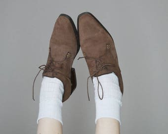 90s light brown suede western lace ups size 7.5