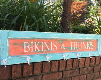 Hook Coat Rack Turquoise Coral Sign Bikinis & Trunks Beach House Nautical Coastal by CastawaysHall - Ready to Ship