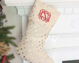 Natural Canvas and Gold Foil Shiny Polka Dot Christmas Holiday Stocking with Monogram or Name Embroidered