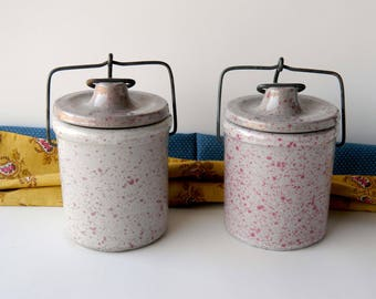 Stoneware Crocks with Wire Clamps. Pink and Natural Speckled Spatterware. Vintage Rustic Country Cottage and French Farmhouse Kitchen Decor.