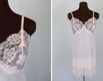 Vintage 60's Full Slip Pastel Pink Nylon Lace Trim Size 34 Large Cup or 36 Short by Vanity Fair