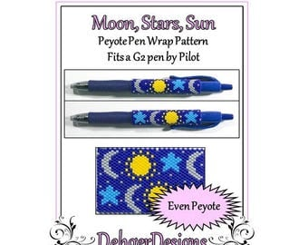 Bead Pattern Peyote(Pen Wrap/Cover)-Moon, Stars, Sun