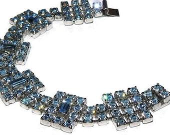 Kramer Vintage Jewelry Blue Rhinestone Bracelet 1950s