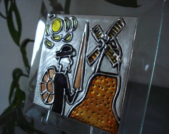 Don Quixote glass and metal plaque