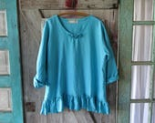 linen top blouse with roses in turquoise ready to ship