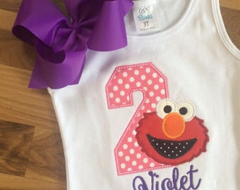 Red pink Monster polka dot bow Personalized Boutique Number Birthday First 1st 2T 3 4 5 6 8 Girls Applique Short Long Sleeve Tank purple