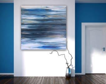 NEPTUNE original abstract painting by Linnea Heide 36x36 acrylic on canvas blue ombre stripes - coastal decor - beach - summer