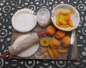 Miniature Peach Pie Prep Board 12th Scale