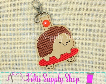 Hedgehog Keychain - Scakeboard Snap Tab - Keychain- Hedgehog Snap Tab - Hedgehog - Zipper Pull - Keychain - Snap Tab - Key Chain - Key Fob