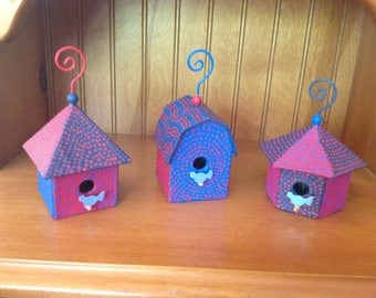Dot Painting Bird House Trio Hand Painted Upcycled - Dot Dot Dash by TangoBrat