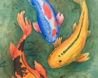 Koi pond art etsy for Blue and orange koi fish