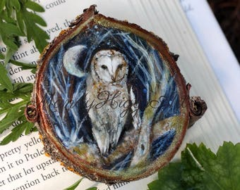 Barn Owl, Original Painting On CherryWood