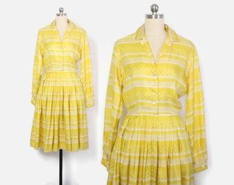 Vintage 50s SILK Dress / 1950s Bright Yellow & White Polka Dot Stripe Shirt Dress S