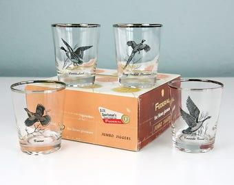 New Old Stock, Federal Glass Company Sportsman's JUMBO JIGGER SET of Four Game Bird Themed Barware Glasses in Original Box