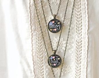 BIRTHDAY SALE Inspirational Necklace Set - Believe, Trust, Grow - Positive Jewelry - Motivational Necklace