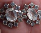 "Vintage earrings, bridal  wedding earrings,elegant clear crystal stud earrings with large centre oval, ""night on the town"" earrings"