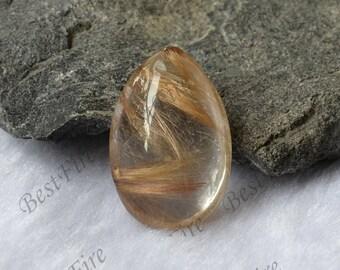 Charm Drop hairstone golden Transparent Quartz,Gold Rutilated Quartz,lodolite quartz,semi-precious stone pendant
