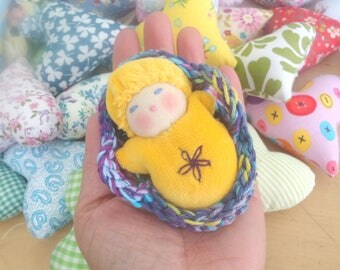 Bright Yellow Baby Doll in a Basket - Waldorf Inspired