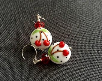 Red Cherry Earrings, Fruit Earrings, Dangle Drop Earrings, Artisan Lampwork Earrings, Red White Polka Dot Earrings, Gift Idea Beaded Earring