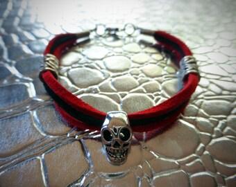 Red & Black Sueded Leather w/ Tibetan Silver Skull BRACELET