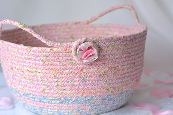 Pink Gift Basket, Handmade Pink Bowl, Pink Floral Bath Basket, Makeup Organizer, Girls Room Decor, Pink Baby Shower Gift Basket