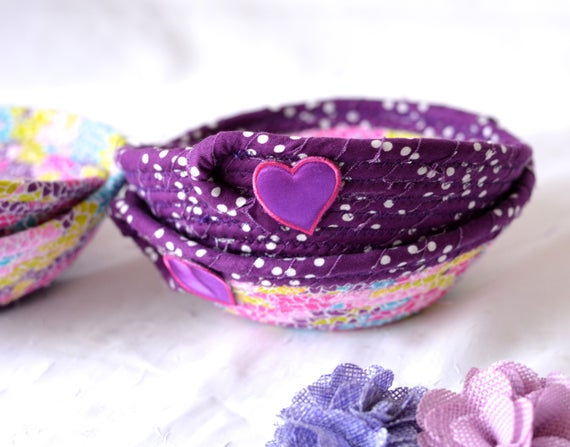 Birthday Party Favors, Cute Ring Baskets, Set of 4, Modern Purple Baskets, Lovely Candy Bowls, Pink Desk Accessory Catchall